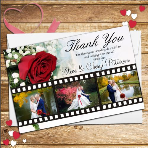10 Personalised Red Roses Wedding Day Thank you Photo Cards N102